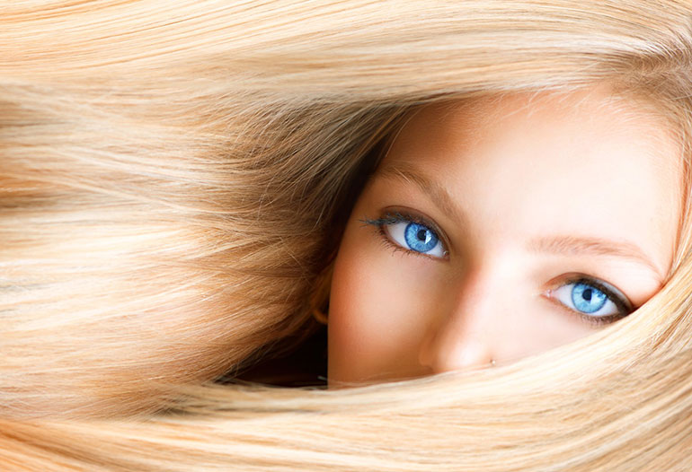 A Blond Woman With Blue Eyes