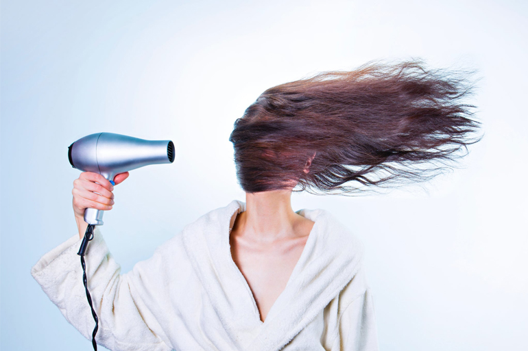 Drying Hair With Hair Dryer