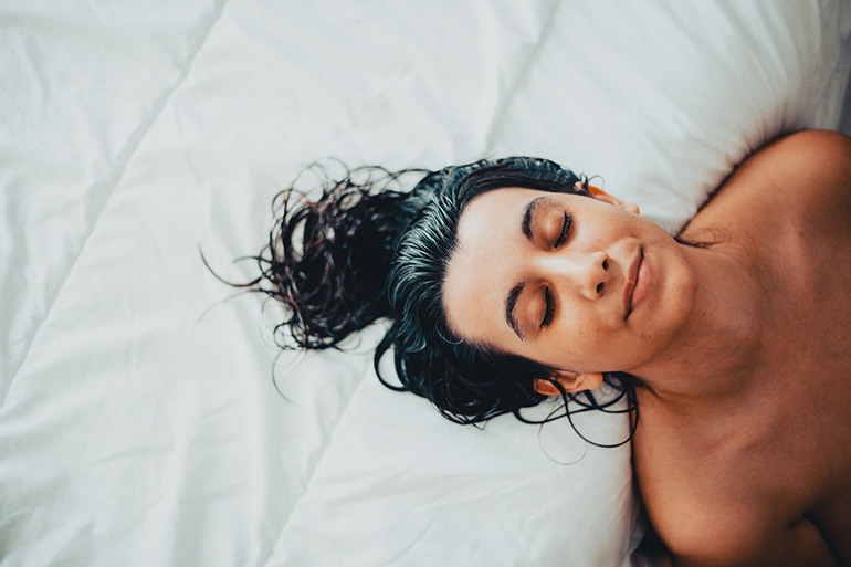 Woman Sleeping With Wet Hair